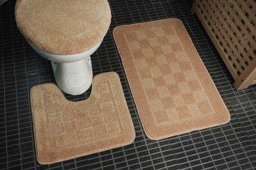 Dainty Home 3-Piece Bath Set with Rug/Contour/Lid Cover,Tusk - White Bathroom Rug Sets 3 Piece