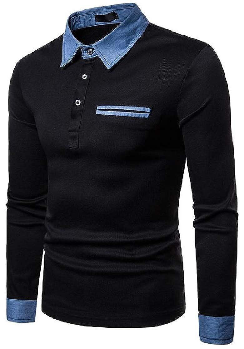 Macondoo Mens Polo Shirt Denim Slim Fit Casual Long Sleeve T-Shirts