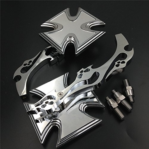 Chromed Billet Custom Running Acrylic Mirrors For Harley Dyna Wide Glide Maltese Cross Emblem Flame Style (Chromed Billet)