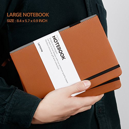 Thick Classic Notebook with Pen Loop - Lemome A5 Wide Ruled Hardcover Writing Notebook with Pocket + Page Dividers Gifts, Banded, Large, 180 Pages, 8.4 x 5.7 in by Lemome (Image #5)