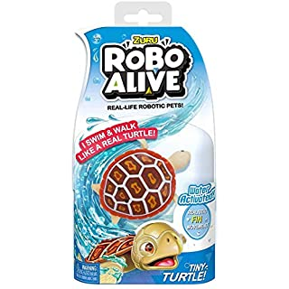 NEW Robo Alive Tiny Red Turtle - Water Activated Real Life Movements - Duel functioning: Walks on land and swims in water. Perfect Bath Toy or Stocking Stuffer -