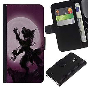 UNIQCASE - Samsung Galaxy S4 Mini i9190 MINI VERSION! - Vintage Werewolf Full Moon Retro - Cuero PU Delgado caso cubierta Shell Armor Funda Case Cover