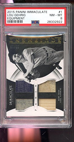 Lou Gehrig Memorabilia - 2015 Panini Immaculate Equipment Lou Gehrig Game-Used Jersey Bat Card 8 Worn - PSA/DNA Certified - Baseball Game Used Cards