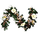 V&M VALERY MADELYN 6 Feet Champagne Gold Artificial Spruce Garland for Wedding Party Garden Office Wall Staircase Decoration, Balls Included, Battery Operated 20 LED Lights with Remote and Timer