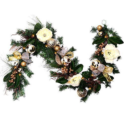 V&M VALERY MADELYN 6 Feet Champagne Gold Artificial Spruce Garland for Wedding Party Garden Office Wall Staircase Decoration, Balls Included, Battery Operated 20 LED Lights with Remote and Timer by V&M VALERY MADELYN
