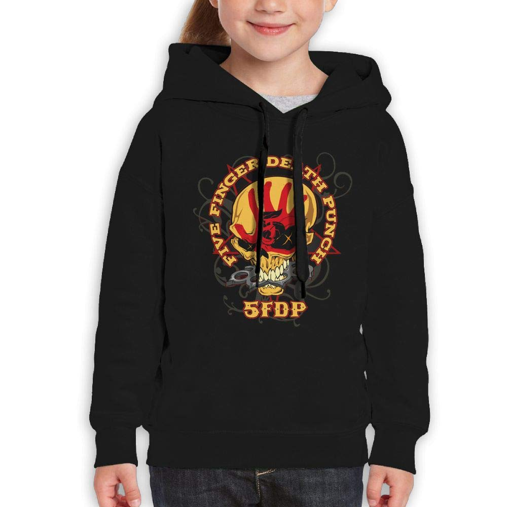 Guiping Five Finger Death Punch2 Boys and Girls Pullover Hooded Sweatshirt Black S