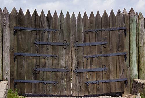 CSFOTO 8x6ft Background for Wooden Gate with Iron Photography Backdrop Wood Door Rustic Wood Door Rural Scene Country Hard Wood Child Kid Baby Adult Portrait Photo Studio Props Vinyl Wallpaper