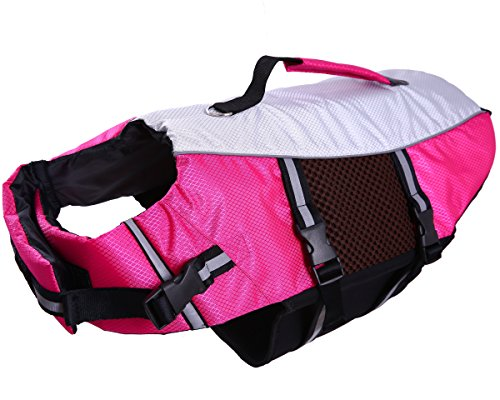 Dog Life Jacket Large ,Dogs Life Vests For Swimming Extra Large,Float Coat Swimsuits Flotation Device Life Preserver Belt Lifesaver Flotation Suit For Pet Bulldog With Reflective Straps Rose xxl by QBLEEV