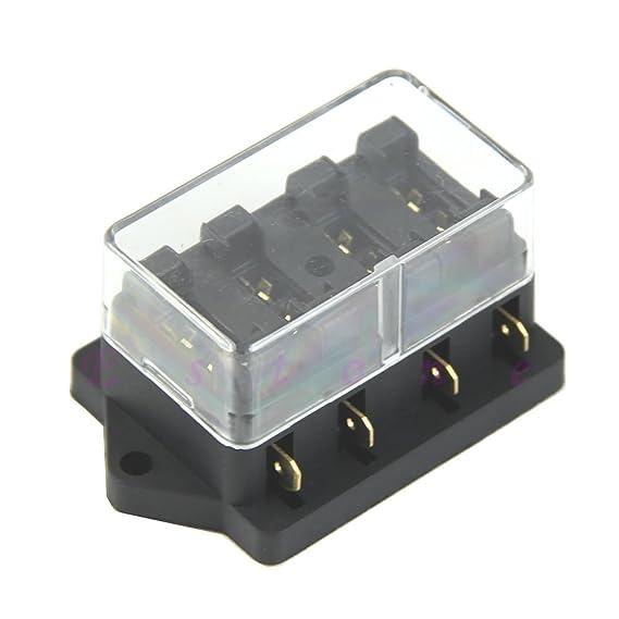 250V 4-Fuse Box Sicherungshalter Sicherungskasten Für Auto KFZ LKW PKW Schwarz