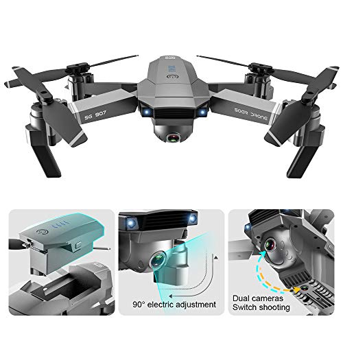 GoolRC SG907 GPS Drone, 5G WiFi FPV Foldable Drone with 4K HD Front Camera and 720P Optical Flow Positioning Camera, Follow Me, Gesture Photos/Video RC Quadcopter with 2 Batteries