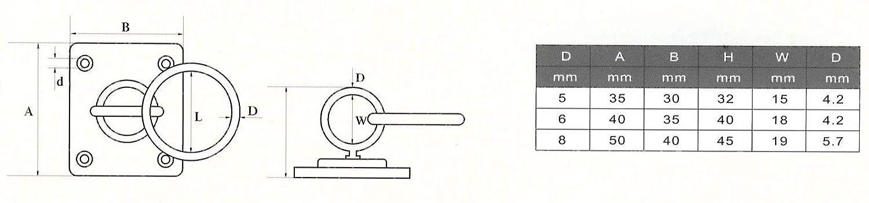 Sunload Augplatte rechteckig mit Wirbel und Ring Edelstahl rostfrei V4A 5 St/ück