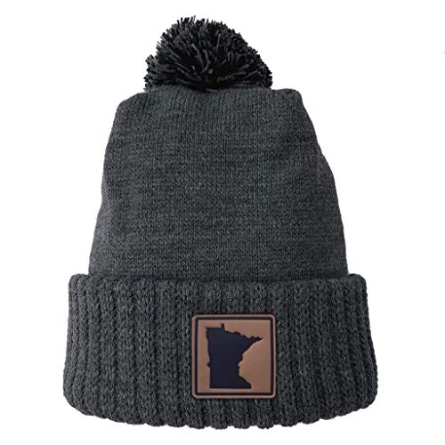 Homeland Tees Minnesota Leather Patch Cuff Beanie Charcoal with Pom