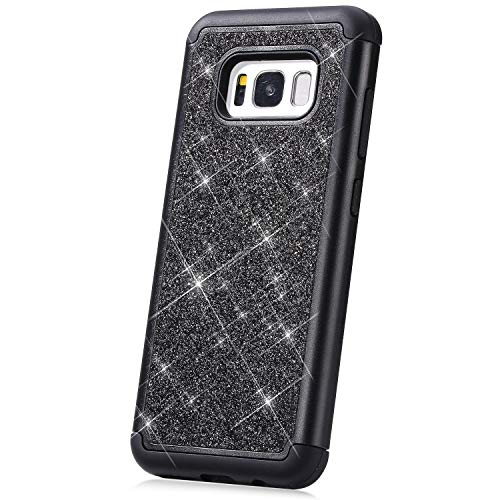 PHEZEN Case for Samsung Galaxy S8 Glitter Case,Women Girl Glitter Sparkle Bling Heavy Duty Defender Full-body Protective Hard Shell Shockproof Soft Silicone TPU Bumper Case Cover for Galaxy S8, Black