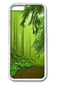 iphone 6 plus Case,Forest Fog Green PC Hard Plastic Case for iphone 6 plus 5.5 inch Transparent