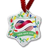 Personalized Name Christmas Ornament, Infinity Flags USA and Indonesia NEONBLOND