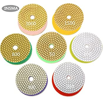 INSMA 4 inch Diamond Polishing Pads 7 Pcs Set for Marble Granite Concrete Countertop Glass Stone Floor Renew, 7 Pads Mix 50 to 3000 Grit