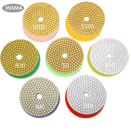 INSMA 4 inch Diamond Polishing Pads 7 Pcs Set for Marble Granite Concrete Countertop Glass Stone Floor Renew, 7 Pads Mix 50 to 3000 Grit by INSMA BE INTERESTING, BE SMART