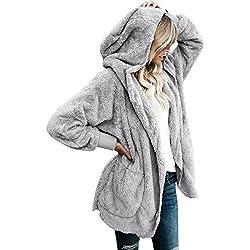 LookbookStore Women's Oversized Open Front Hooded Draped Pocket Cardigan Coat Size S (Fit US 4 - US 6)
