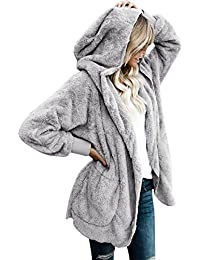 Women's Oversized Open Front Hooded Draped Pockets...