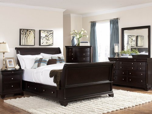 Bed Inglewood Panel (Inglewood 5 PC Sleigh California King Bedroom Set with Chest by Homelegance in Espresso)
