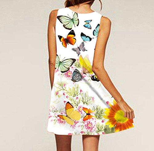 Imprim Manches 3505 Sans Boho Femmes Mini Robe Blanc D't Courte Vintage Robe Femmes FNKDOR 4O8qxwSRYn