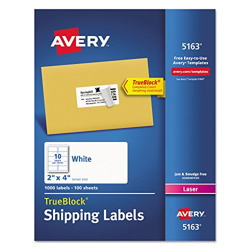 Avery 5163 TrueBlock Shipping Labels, Laser Print, 2