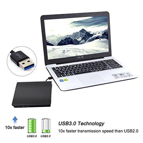 Emmako DVD Drive External USB 3.0 CD-RW DVD-RW Rewriter Burner Superdrive For High Speed Data Transfer for Laptop Notebook PC Desktop Computer Support Windows/Vista/7/8.1/10, Mac OSX by Emmako (Image #5)
