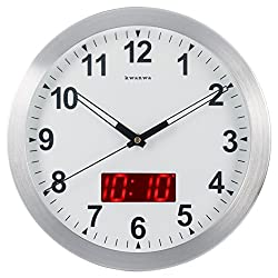 Kwanwa Digital Metal Frame Quartz LED Analog 12 Wall Clock Battery Operated Only with Non Ticking Silent Quiet Sweep Second Hand And Big 1.2'' LED Time or Temperature Display