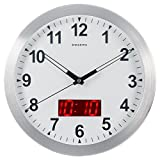 "Kwanwa 12″ Metal Frame Quartz LED Analog Wall Clock Battery Operated Only with Non Ticking Silent Quiet Sweep Second Hand And Big 1.2"" LED Time or Temperature Display Review"