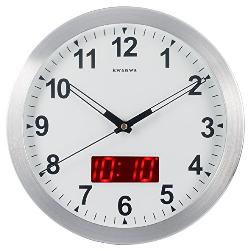 Kwanwa 12' Metal Frame Quartz LED Analog Wall Clock Battery Operated Only with Non Ticking Silent Quiet Sweep Second Hand And Big 1.2'' LED Time or Temperature Display