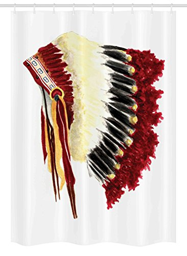 Ambesonne Native American Stall Shower Curtain, Original Ethnic Symbolic Eagle Feather Headdress Native Life Style, Fabric Bathroom Decor Set with Hooks, 54 W x 78 L inches, White Red Black