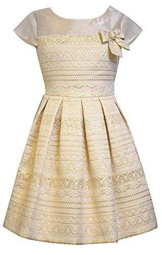 Little Girls 4-6x Gold Illusion Aztec Brocade Social Party Dress (5, (Brocade Party Dress)