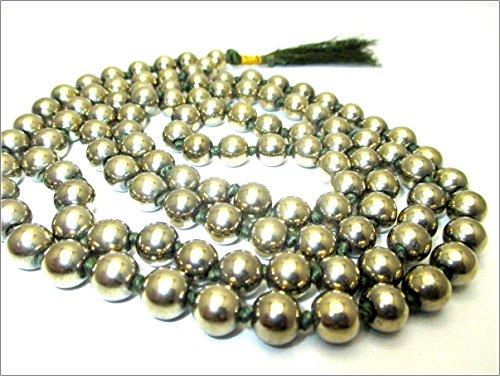 Jet Pyrite 108 Beads Knotted Mala 8 mm Prayer Japa Necklace Gemstone Reiki Healing Crystal Semiprecious Strand Tassel Tibetan Buddhist Wealth Abundance Aum Nirvana Meditation Handcrafted