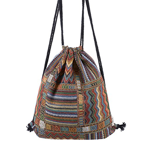 HITOP Harajuku Vintage Lightweight Multicoloured Geometry Drawstring Canvas Rucksack Bags, Backpack For School Youth Teenage Girls Gym Sport