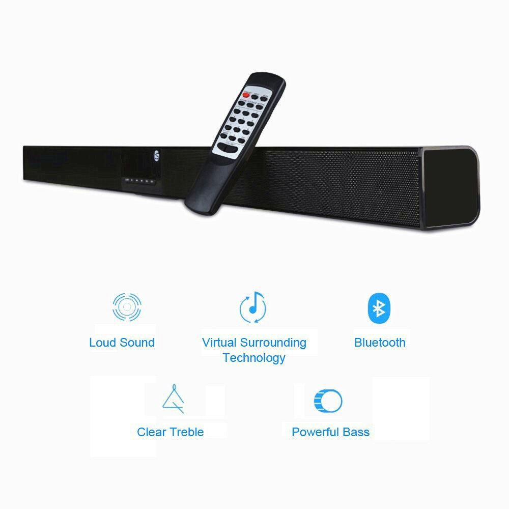 Soundbar for TV 40W (RMS), TRANSPEED 5EQ Mode Home Theater Speaker,2.0 Channel Bluetooth Sound Bar, Strong Bass, Al Metal Enclosed with Remote for TV/echo/phones/tablet/USB/SD Card playing, Mountable by Transpeed