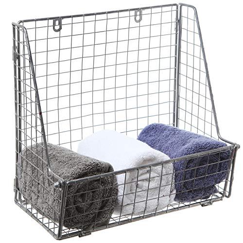 Modern Silver Metal Wire Wall Mounted Hanging Towel Basket/Freestanding Magazine/File Organizer Rack (Towel Holder Hanging Wall)