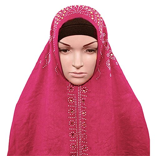 Cover Jersey Womens Cotton (Achillea Womens Rhinestone Cotton Jersey Hijab Scarf Muslim Head Cover Wrap in Solid Color (Pink))