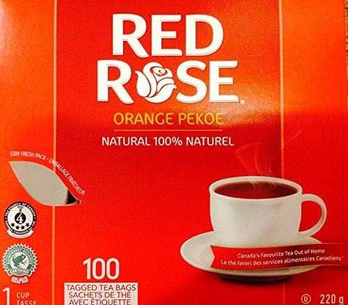 Red Rose Orange Pekoe Tea 100% Natural, 100 Tagged Tea Bags, 220g {Imported from Canada}