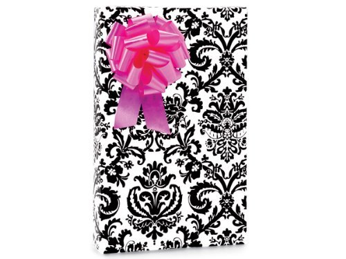 PAISLEY FLOURISH Black & White Gift Wrapping Paper - 16 Foot Roll by Buttons Bags and -