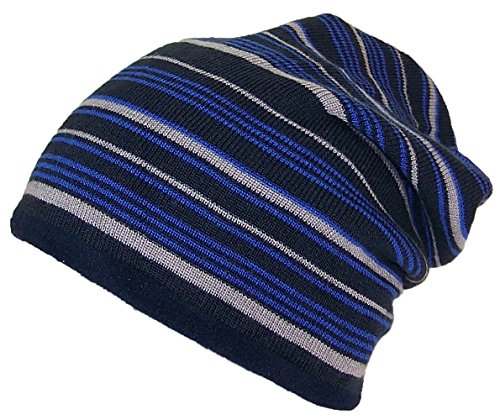 Best Winter Hats Adult Reversible Striped Slouchy W/Fleece Lining (One Size) - Black/Navy (Hat Flap Striped)