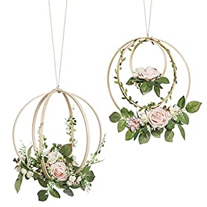 Ling's moment Floral Wreaths Set of 2 Blush Rose Artificial Flower Wreaths for Wedding Greenery Backdrop Hanging Decor 15