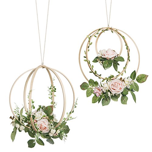 Ling's moment Floral Wreaths Set of 2 Blush Rose Artificial Flower Wreaths for Wedding Party Backdrop Bridal Shower Baby Shower Hanging Decor