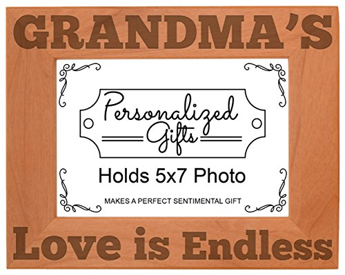 ThisWear Grandma's Love is Endless Natural Wood Engraved 5x7 Landscape Picture Frame Wood