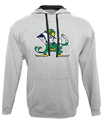 NCAA Notre Dame Fighting Irish Men's Hood 50/50 Fleece Top, Gray/Ash, Large