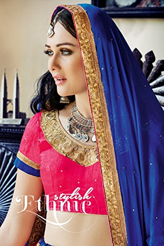 Da Facioun Womens Pink Striking Lehenga Choli With Embroidery Lace Work 80370 80370