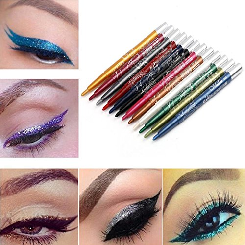 Hemlock Makeup Pencil Eyeliner, 12 Colors Long Lasting Eye Shadow Pen Lip Liner Pen (A)