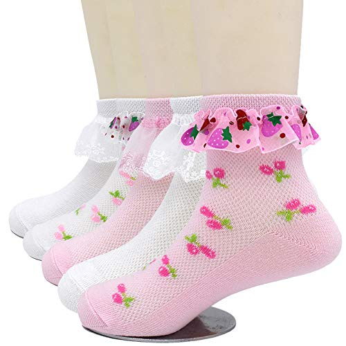 (CeeDeek Girl's Eyelet Socks Lace Top Anklet Sock Princess Dress Sock Packs of 5(L(7-11y), Mixed Color))