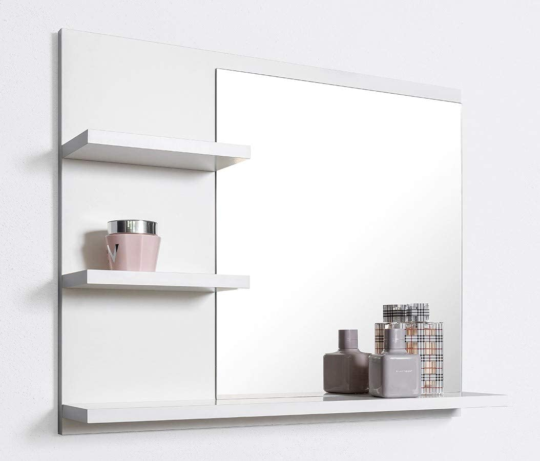 Domtech Bathroom Mirror With Shelves 60 Cm White Wall Mounted L Amazon Co Uk Kitchen Home