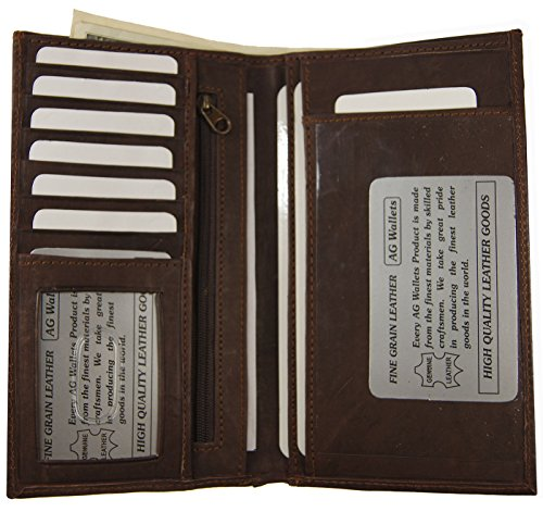 Dallas Cowboys Checkbook Cover (Brown Genuine Leather Checkbook Cover Wallet Organizer With Credit Cards Holder)
