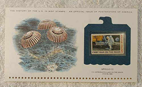 Apollo 11 - US Astronauts Land on the Moon - History of the United States - Postage Stamp (1969) & Art Panel - Postmasters of America (1979) - First Man on the Moon, Neil Armstrong
